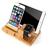 Wooden Tablet Stand Holder JUN-Q Wooden Charge Dock Holder for iWatch Samsung watch and Docking Station Cradle Bracket for iPod iPhone SAMSUNG LG ALCATER ZTE all Smartphones and Tablet Light Brown