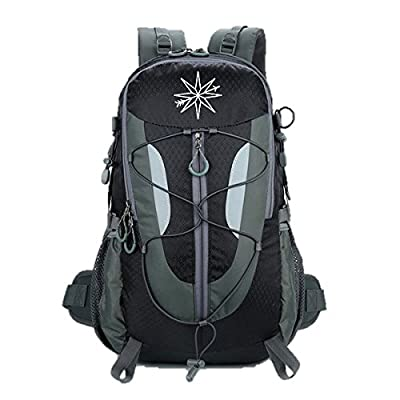 Compass Outdoors water-resistant hiking backpack 30L: daypack with water reservoir and shoe compartment- for hiking, travel, camping low-cost