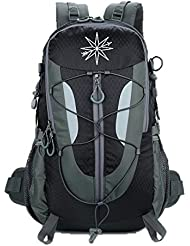 Compass Outdoors water-resistant hiking backpack 30L: daypack with water reservoir and shoe compartment- for hiking...