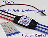 4 PCS Hobbywing-30A-ESC's + Hobbywing Program Card for Rc Helicopter airplane Quadcopter - HOBBYMATE