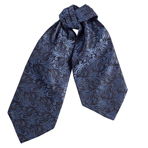 Silk Pleated Necktie (CRT030-Mens Silk Feel Elegant Cravat Classic Ascot Tie in Steel Blue Paisley Print)