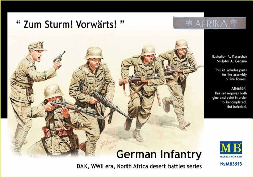 Master Box WWII DAK German Infantry N. Africa (5) Figure Model Building Kits (1:35 Scale) (1 35 Masterbox)