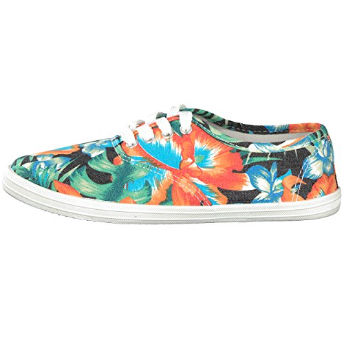 brandsseller - Zapatos de cordones para mujer naranja y verde