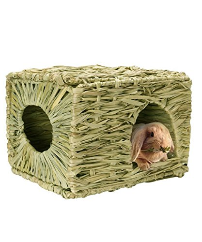 Grass House for Rabbits, Loveone(TM) Foldable Natural Safe Hideaway Durable Chew Toy Mat Bed for Hamster/ Chinchillas/ Guinea pigs/ Ferret/ Small Pets