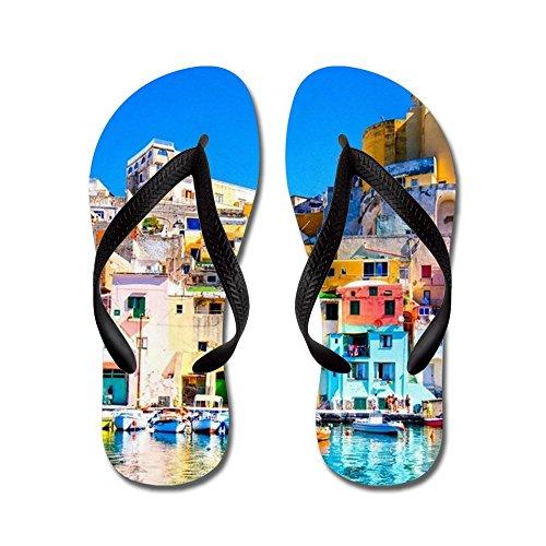 Cafepress Napels Italië - Flip Flops, Grappige Leren Sandalen, Strand Sandalen Zwart