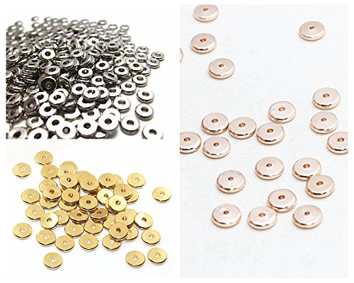 jennysun2010 6mm Solid Metal Flat Disc Round Rondelle Slice Bracelet Necklace Connector Spacer Charm Beads Randomly Mixed 100 Pcs per Bag for Earrings Jewelry Making Crafts Design