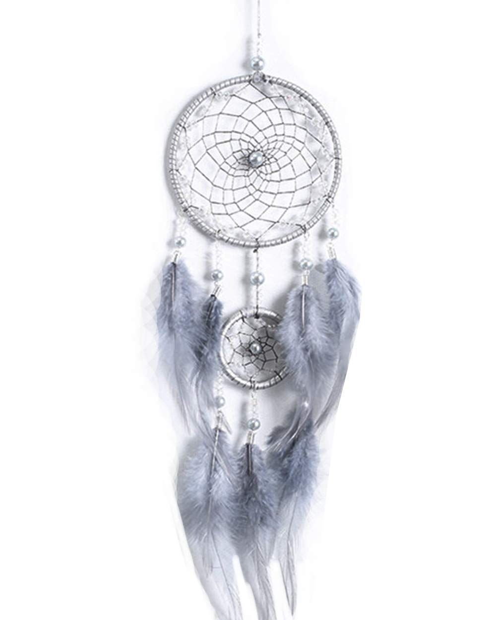 """Handmade Indian Real Feathers Dream Catcher Wall Hanging Car Hanging Bedroom Decoration Ornament Gift (Grey, 4.3""""18"""")"""