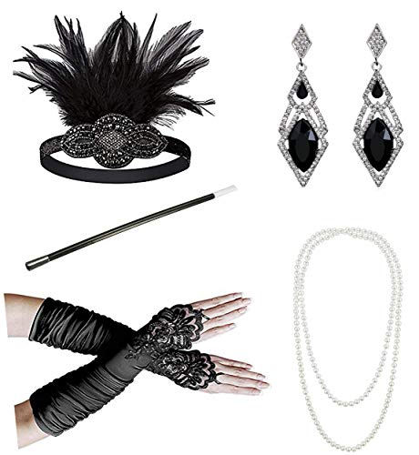 Zivyes 1920s Accessories Flapper Costume for Women Headpiece Cigarette Necklace Gloves (Dd1) - Headpiece Halloween Costumes Accessories