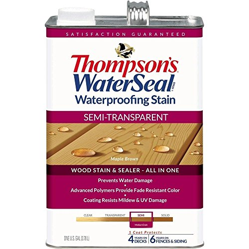 - THOMPSONS WATERSEAL TH.042821-16 Semi-Transparent Waterproofing Stain, Maple Brown