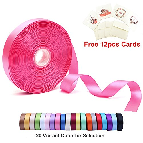 Double Face Satin Ribbon 1 Inch Wide x 100 Yard Roll (300 FT Spool) with Free 12 Greeting Cards for Art & Sewing, Party/Wedding Favor Ribbons, Hot Pink