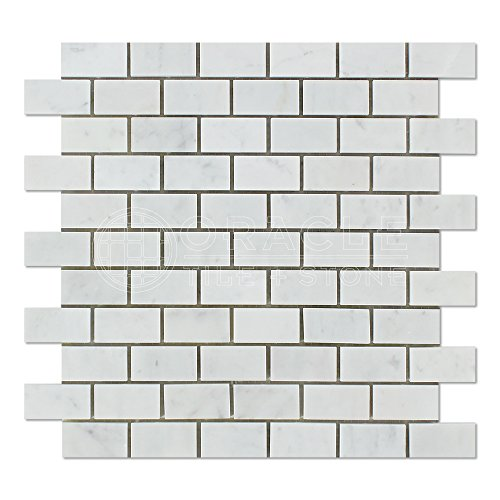 Carrara White Italian (Bianco Carrara) Marble 1 X 2 Subway Brick Mosaic Tile, Polished (Flooring Mosaic Bianco Tile)