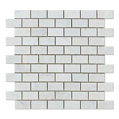 Carrara White Italian (Bianco Carrara) Marble 1 X 2 Subway Brick Mosaic Tile, Honed