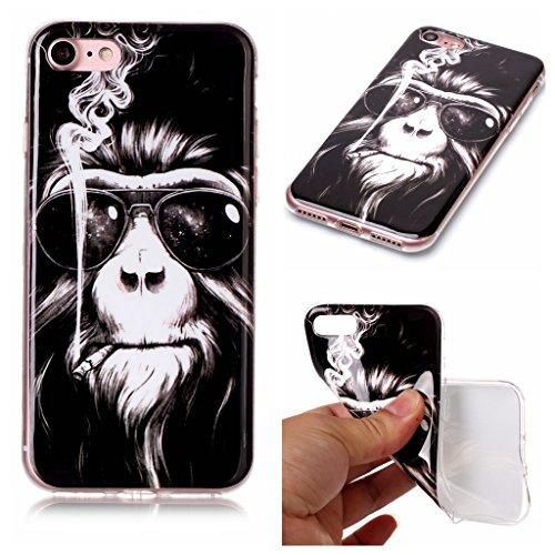 iPhone 7 Cover , YIGA Orangutan Silicone Cristallo Morbido TPU Case Custodia per Apple iPhone 7