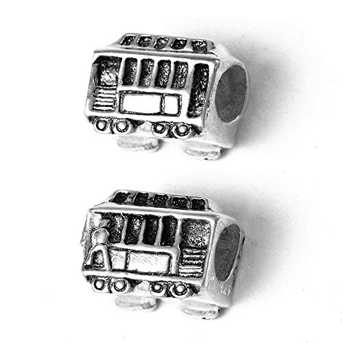 Cable Car Charm Bead - Solid 925 Sterling Silver - Fits Bracelets like Pandora