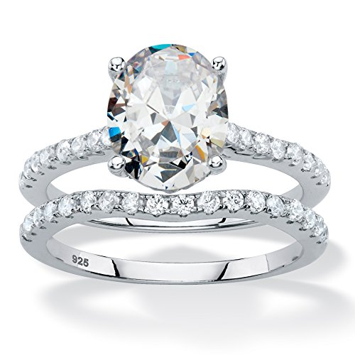 Oval-Cut White Cubic Zirconia Platinum over .925 Silver 2-Piece Bridal Ring Set Size 10 by Palm Beach Jewelry