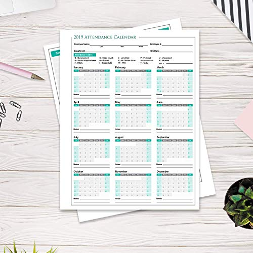 - 2019 Attendance Calendar - 50-Sheet Double Sided Pack 12 Month Employee Work History Tracker - Vacation Sick Days Time Off Request Record Form - 8.5