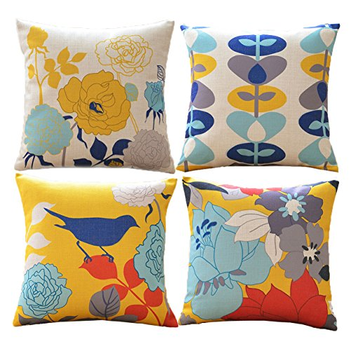 Gold Decorative Toss Pillow - sykting Decorative Spring Pillow Covers Square Cushion Covers Set of 4 Outdoor Couch Sofa Home Pillow Covers 18