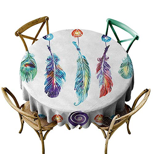 Wendell Joshua Party Tablecloth 60 inch Boho,Several Tribal Feather Collection in Psychedelic Hippie Universe Cosmos Harmony Forms,Multicolor Great for Buffet Table, Parties, Holiday Dinner & More