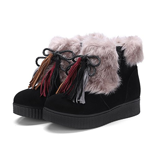 BalaMasa Womens Snow Boots Velvet Lining  Fringed Suede Boots ABL10521 Black bbsNeOI29f