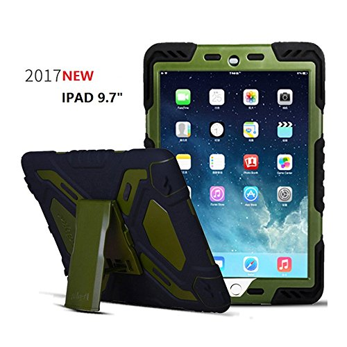 - New iPad 9.7 inch 2017/2018 iPad 9.7 Case,Bpowe Heavy Duty Cover Case Silicone Plastic Dual Layer Shock Proof Drop Proof Dust Proof Kids Proof With Kickstand for Apple iPad 9.7 2017/2018 (black/olive)