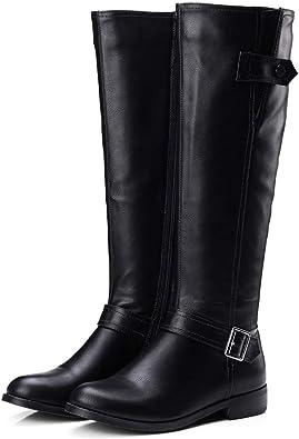 Women Round Toe Knee-High Boots Zipper