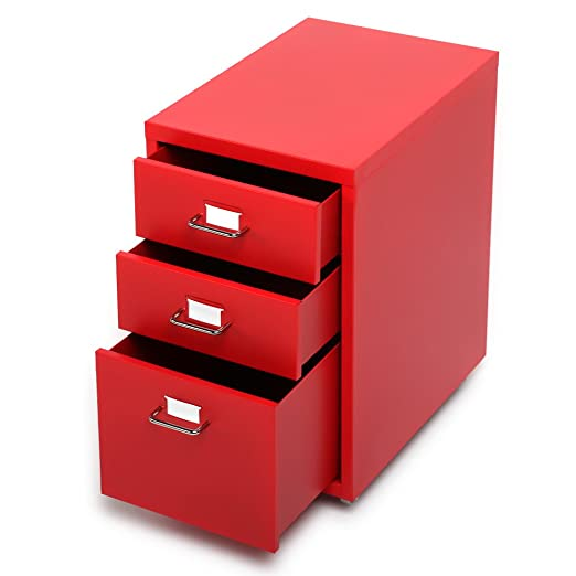 IKAYAA Archivador Cajonera de Metal para Oficina con3 Cajones 4 Ruedas Rojo: Amazon.es: Electrónica