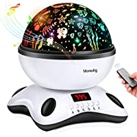 Musical Night Light, 360 Rotating Star Lamp Baby Musical Lamp with Rechargeable Battery,12 Songs to Relax for Sleep Kids Babies Birthday Children Day Christmas Gift(Black & White)