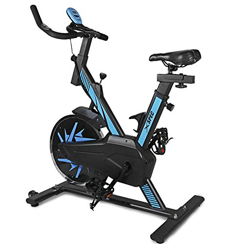 Spinner Cycle (Xspec Pro Stationary Upright Blue Exercise Bike Cycling Bike Heart Pulse Sensors,Indoor Cardio Fitness Cycling Machine Gym Workout Training Stationary Bike)
