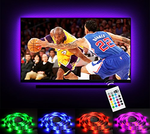 Emotionlite LED Strip Lights for 32-60 inch TV Backlight, RGB LED Bias Lighting with 24 Keys IR Remote, USB Powered, Multi Color(16 Colors), PU Coating Tape for HDTV LCD