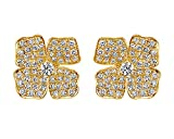 10K Solid Gold Round Cut White Cubic Zirconia Small Flower Stud Earrings