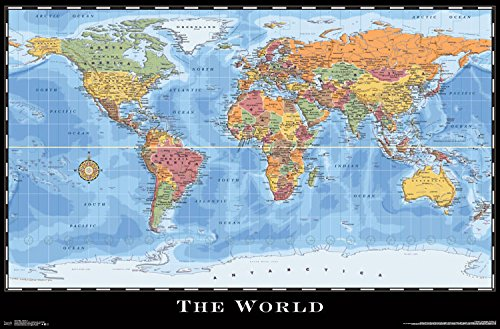 Trends International World Map Wall Poster