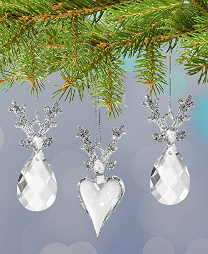 Crystal Reindeer Ornaments - Set of 3 Glass Reindeer Ornaments with Glitter Filled Antlers (Reindeer Decorations Glitter)