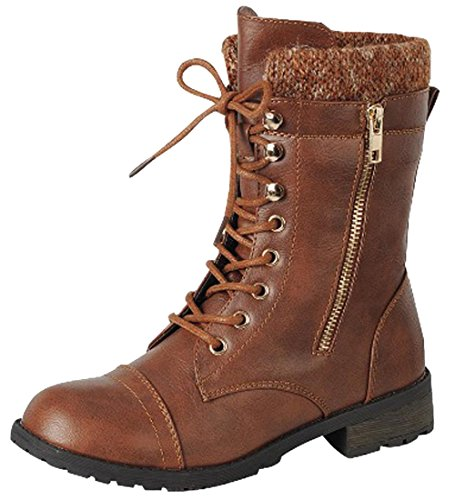 Cambridge Select Women's Round Toe Military Lace Up Knit Sweater Combat Boots