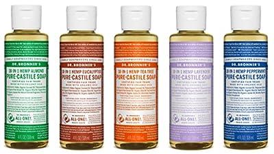 Dr. Bronner's 4 oz. Sampler- 5 Piece Gift Set. (5) 4 oz. Castile Liquid Soaps in Almond, Eucalyptus, Tea Tree, Lavender, and Peppermint