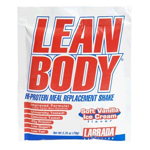 Nutrition Labrada Lean Body Salut-Protein secousse substitut de repas, crème glacée molle à la vanille, 2,78 onces paquets (paquet de 80)