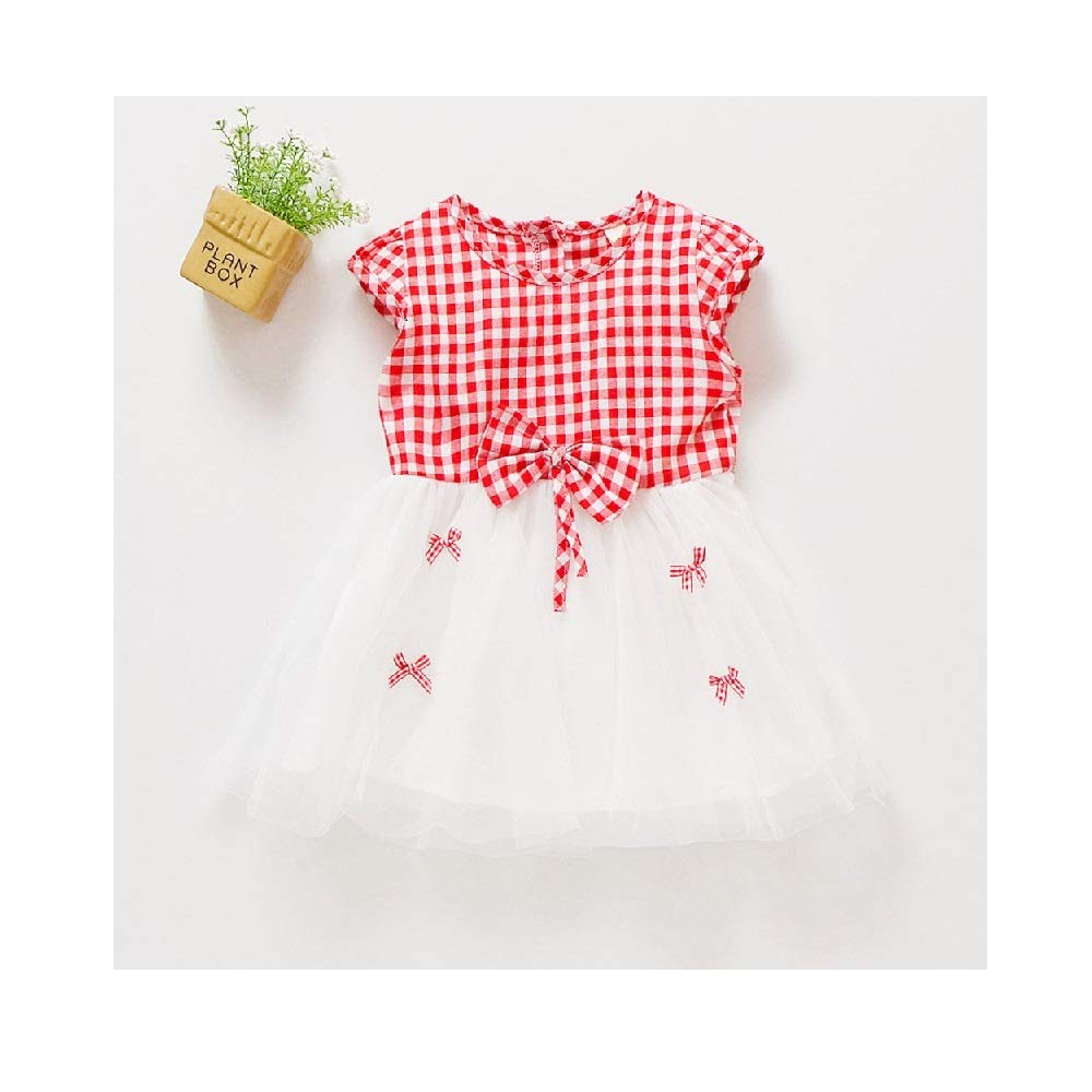 Dresses Toddler Infant Baby Girls Dress Summer Long Sleeve Lace Tutu Lace Dresses Floral Party Wedding Princess Cute Red Plaid