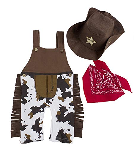 stylesilove.com Infant Toddler Baby Boy Sheriff Cowboy Overalls, Hat and Handkerchief 3-pc (90/12-18 Months) Brown -