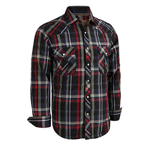 Coevals Club Men's Long Sleeve Casual Western Plaid Snap Buttons Shirt (XL,6#balck,red)