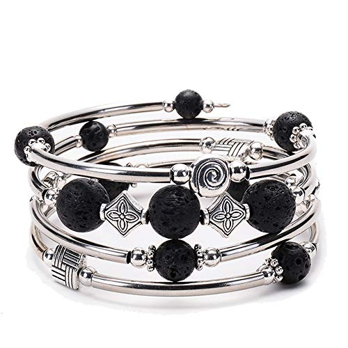 (Y&M Bead Crystal Wrap Stretch Bracelet Bohemian Statement Bangle Multilayer Bracelet Flame's Stone Gift for Women Girls)