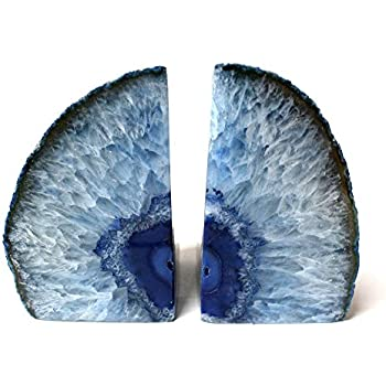 Blue Agate Bookend Pair - 3 to 6 lb - Geode Bookend with Rock Paradise Exclusive COA