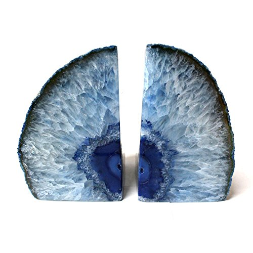 Blue Agate Bookend Pair - 3 to 6 lb - Geode Bookend with Rock Paradise Exclusive COA (Brazil Agate Blue)
