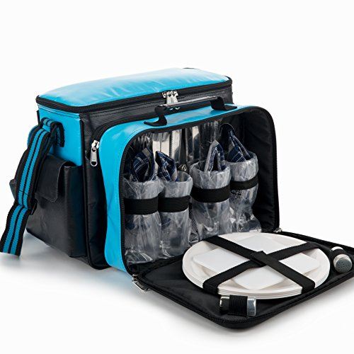 YONOVO Family Insulated Picnic Bag with Cooler Compartment, Plates and Cutlery Set Perfect for outdoor, Sports, Hiking, Camping, BBQS (Sky