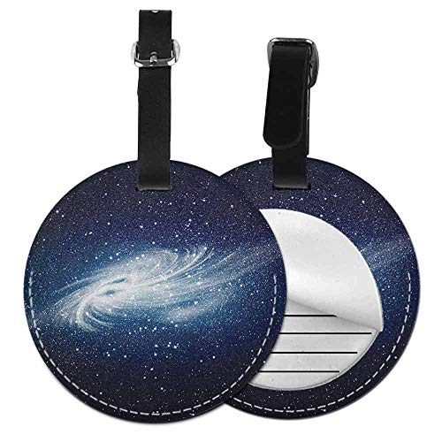Round luggage tag Outer Space Easy to carry Spiral Galaxy Image Space and Stars Celestial Cosmos Expanse Universe Modern,Diameter3.7