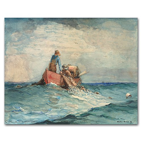 Stormy Ocean Home (Fishing Boat Art, Winslow Homer, Fisherman Print, Museum Wall Decor) -- 1887
