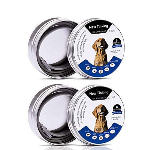2 Pack Flea Tick Control Adjustable Waterproof Collar Protect Dogs/Cats - Last 8 Months Natural Plant Extracts Pet Treatment Prevention Fits All