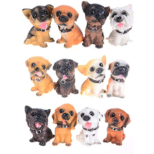 (Kimkoala Miniature Dogs Figurines, 12 Pcs Cute Little Resin Puppy Toys Dog Crafts for Creative Home Dollhouse Desk Car Decorations Micro Garden Ornaments Kids Christmas Birthday Gift )