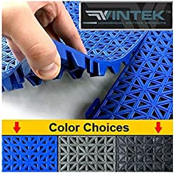 "VinTile Modular Interlocking Cushion Floor Tile Mat Non-Slip with Drainage Holes for Pool Shower Locker-Room Sauna Bathroom Deck Patio Garage Wet Area Matting (Pack of 6 Tiles - 11.5"" x 11.5"", Black)"