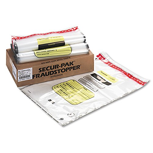 MMF Industries 16 Bundle Capacity Tamper-Evident Cash Bags, 20 x 28, Clear, 100 Bags per Box (2362035N20)