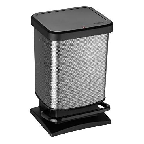 chollos oferta descuentos barato Rotho Paso Cubo de basura de 20l con pedal y tapa Plástico PP sin BPA carbono metálico 20l 29 3 x 26 6 x 45 7 cm