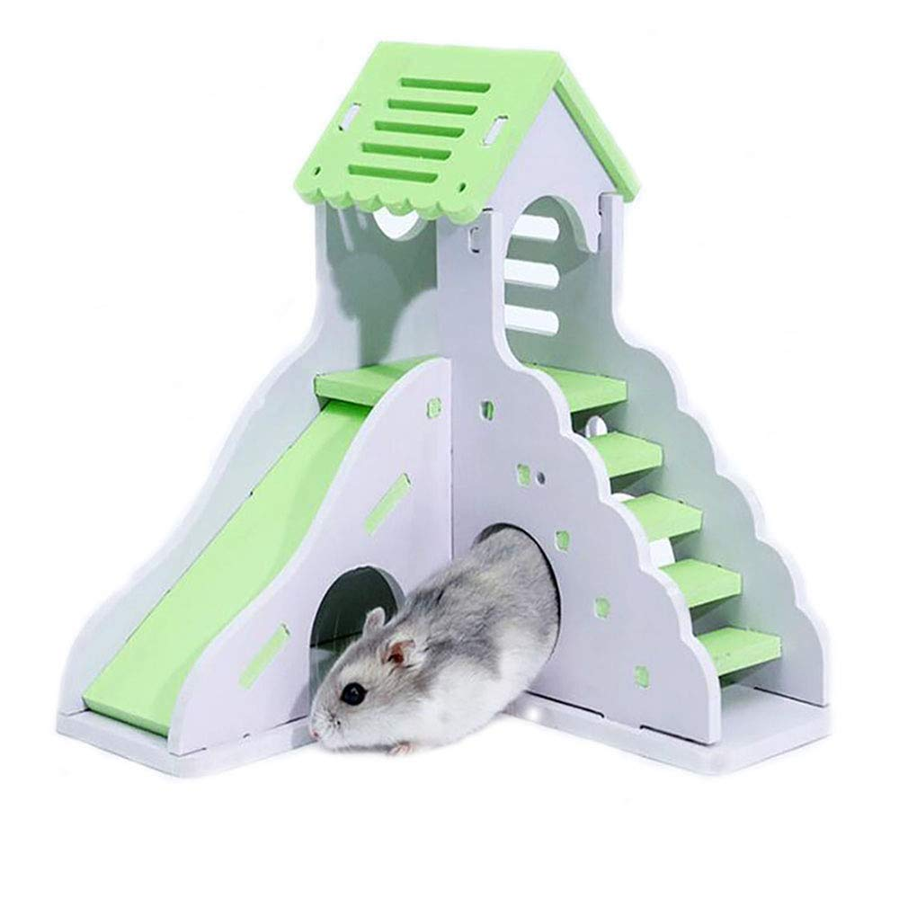 Verde KEISL Ardilla Nido Vista Villa,Juguete para Mascotas Hamster Dormir Nido Colorido casa peque/ña tobog/án de Madera